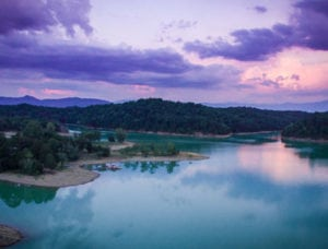 purple sky at sunset over Douglas Lake near Smoky Mountains